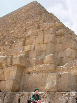 Image of Great Pyramid full shot of North East corner Colette Dowell in Giza