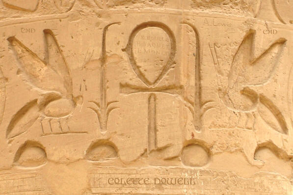 Image of Hieroglyphics Hieroglyphs honey bees and flyiing wasps hornets Karnak Temple in Luxor Egypt photograph by Colette Dowell
